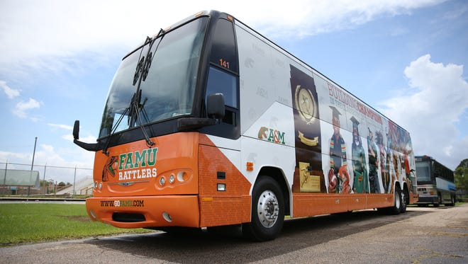 Florida A&M's newly-refurbished bus that Athletic Director Milton Overton Jr. said will save the athletic department $100,000 in travel costs sits parked next to Bragg Memorial Stadium Monday.