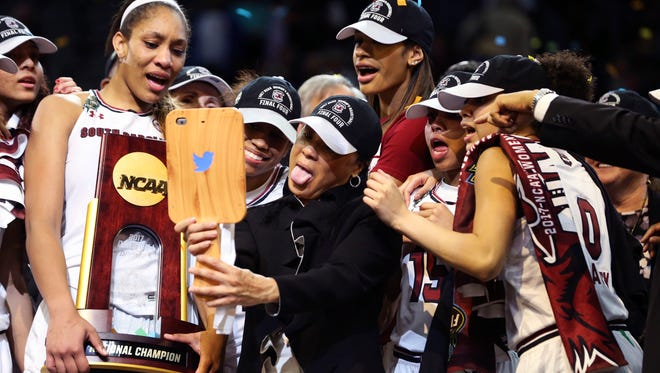 Dawn Staley after winning the 2017 Women's Final Four championships