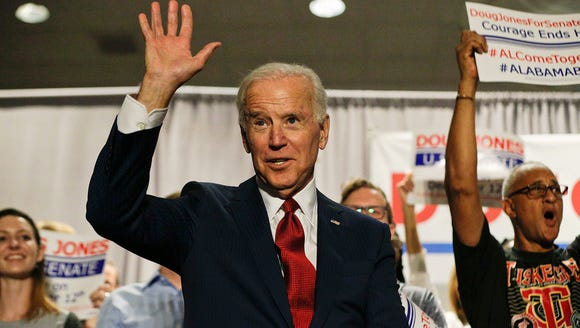 Former Vice President Joe Biden waves to the crowd