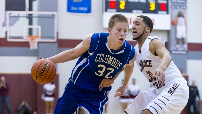 Columbus North High School's Josh Speidel (32), in action two years ago, will sit on UVM's bench during the Catamounts at Purdue on Sunday.