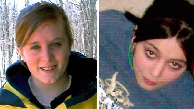This combination of undated family file photos shows, Natasha Weigel, left, and Amy Rademaker.