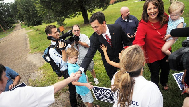 State Sen. Chris McDaniel speaks with the supporters after voting Tuesday at the George Harrison Building in Ellisville during the GOP primary runoff.