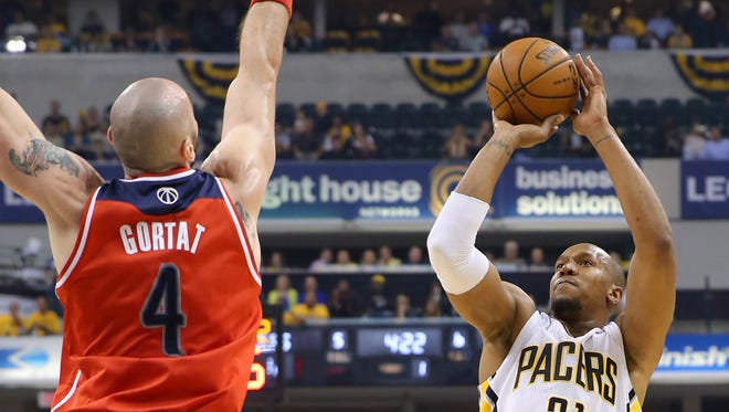 Pacers forward David West puts up a shot during the Eastern Conference playoffs against Washington May 13, 2014 at Bankers Life Fieldhouse.