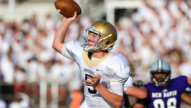 Cathedral QB Max Bortenschlager, shown here, Aug. 22, threw two second half scores to guide the Irish over Bishop Chatard Saturday afternoon.
