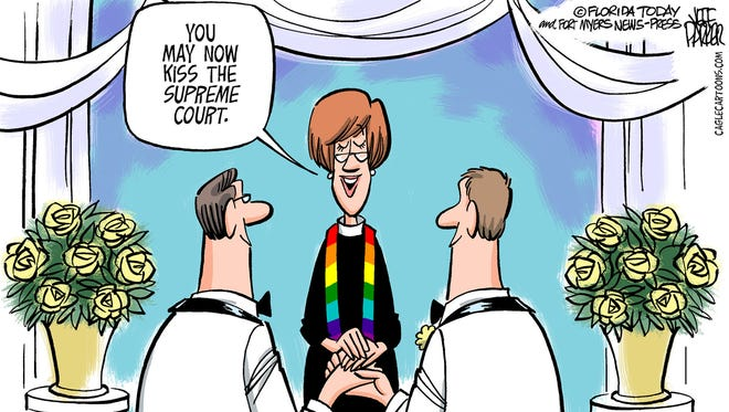 """In this cartoon by Jeff Parker, a female minister marries two gay men, and after having them recite their vows, she says, """"You may now kiss the Supreme Court."""" (Gannett, Jeff Parker/ Florida Today)"""