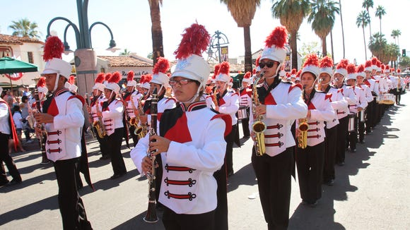 The Palm Springs High School Spirit of the Sands Marching Band performs in the Palm Springs Pride Parade on Nov. 3, 2013, in downtown Palm Springs.