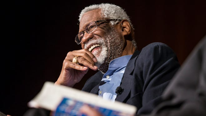 Bill Russell laughs as he speaks about his father on the second day of the Civil Rights Summit at the LBJ Presidential Library April 9, 2014 in Austin, Texas.