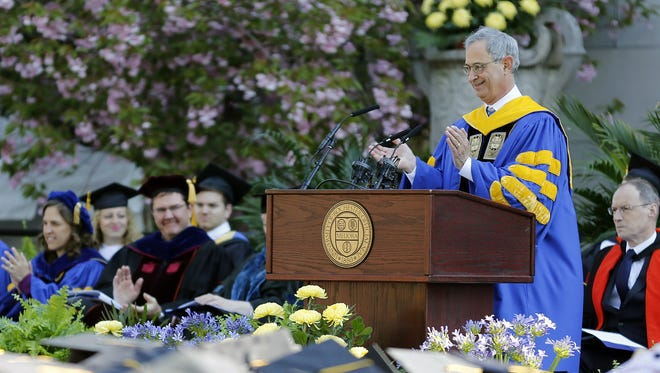 University of Rochester President Joel Seligman speaks at UR's 164th Commencement Ceremony on May 18, 2014.