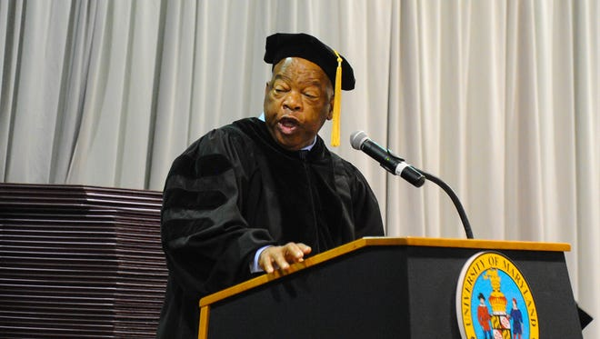 Civil Rights activist John Lewis delivers the commencement address to nearly 500 UMES graduates during UMES graduation ceremonies on Friday.