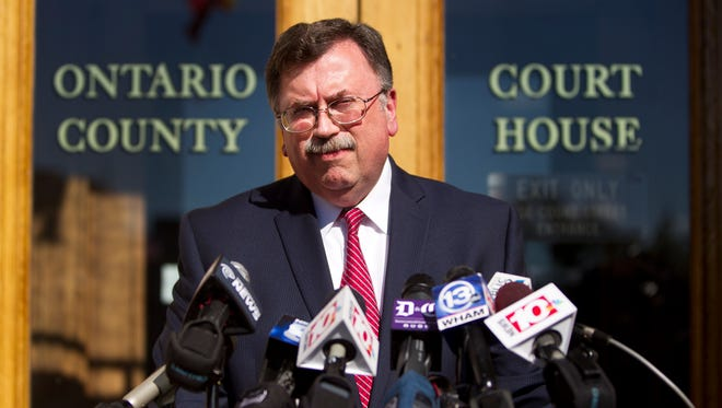 Ontario County District Attorney Michael Tantillo addresses the media during a news conference Wednesday at the Ontario County Courthouse in Canandaigua, N.Y.