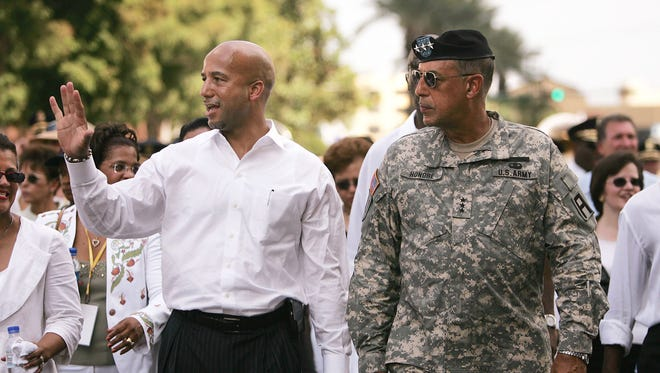 New Orleans Mayor Ray Nagin, left, and Lt. Gen. Russell Honore march during a Jazz funeral procession dedicated to the victims of Hurricane Katrina, on Aug. 29, 2006 in New Orleans.