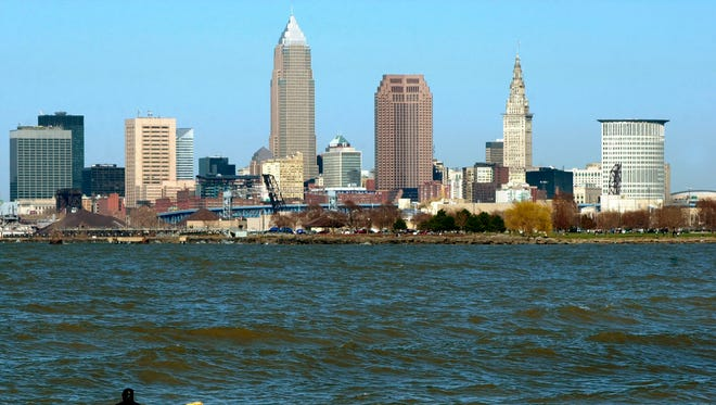 The Cleveland skyline is seen on April 9, 2005.