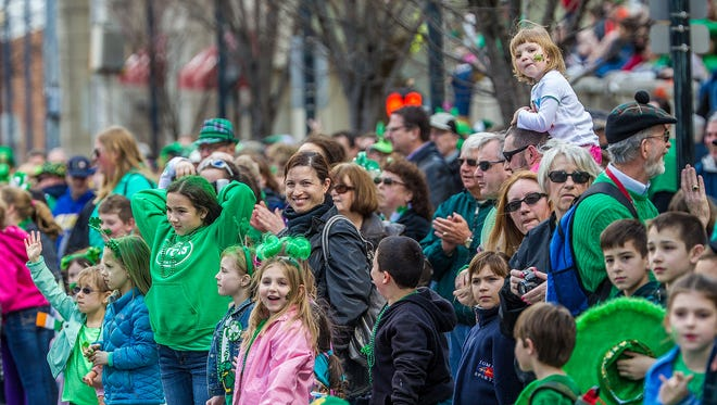 The crowds were deep near Rodney Square to the end of 14th Street at the St. Patrick's Day Parade in Wilmington on March 15, 2014.