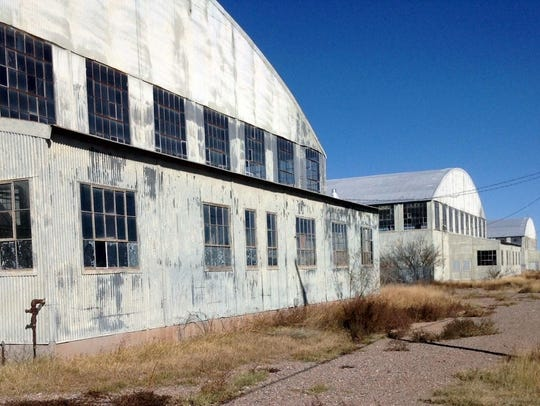 The old U.S. Army Air Field hangars still stand in