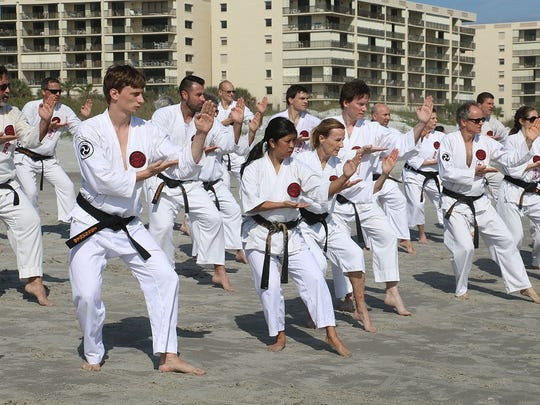 Black belt students from Ueshiro Shorin-Ryu Karate