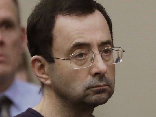 Larry Nassar sits in court on Jan. 24, 2018, during