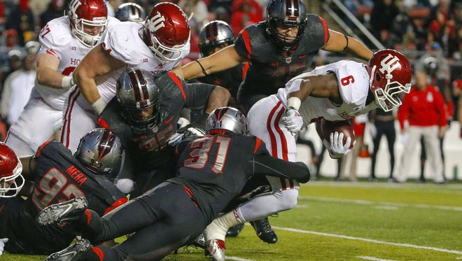 Then-Indiana halfback Tevin Coleman plowed through Rutgers defense for 307 rushing yards last season.
