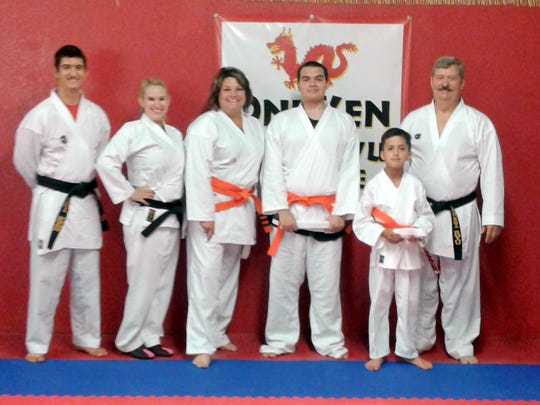 From left, are Sensei Chad Petty, Sensei Chelsea Been, Janis Garner, Michael Hernandez, Alan Chavira and Sensei Trent Petty.