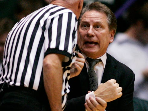 Michigan State Spartans coach Tom Izzo argues with a referee during a game last season.