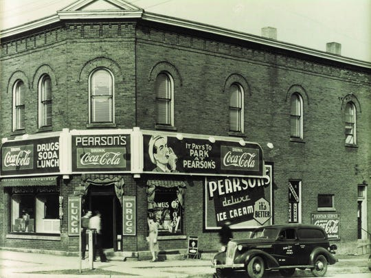 Pearson's Drug Store is pictured in the 1930s at the corner of Linn and Market streets in Iowa City's Northside Neighborhood.