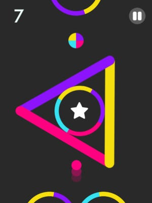 A screenshot of the mobile game Color Switch.