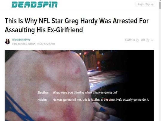 A screenshot of Deadspin's article about Greg Hardy and his arrest for assault.