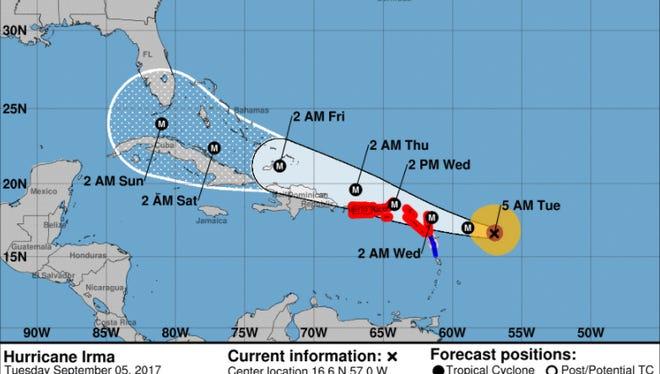 Forecast for Hurricane Irma as of Tuesday, Sept 5.