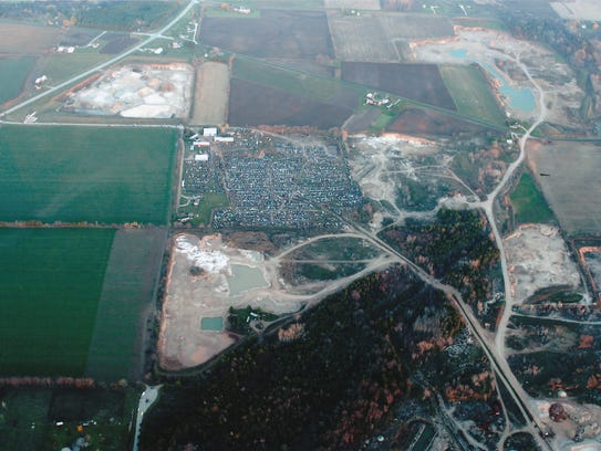 Aerial photo showing the Avery Salvage Yard and the