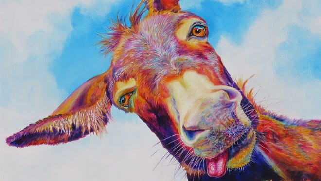 "Sharon Markwardt's ""Way Wonkey Donkey,"" oil on panel."