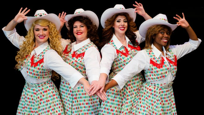 "Sara King, Elizabeth Loos, Jillian Prefach and Arielle Leverett in Derby Dinner Playhouse's production of ""The Honky Tonk Angels Holiday Spectacular."""