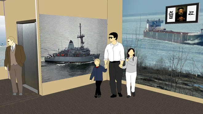 Rendering of an electronic exhibit space inside the planned new tower at the Door County Maritime Museum in Sturgeon Bay.