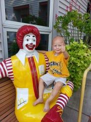 Emmett Lahr at the Ronald McDonald House during treatment.