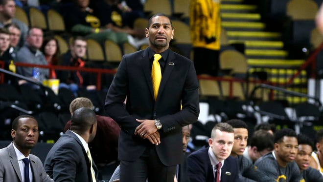 UWM head coach LaVall Jordan watches play on the floor during the UWM men's basketball 80-56 loss to UW-Green Bay Saturday, February 18, 2017.