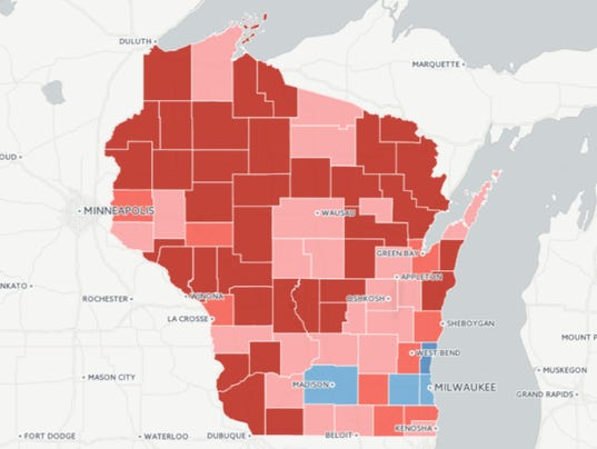 Map Where Wisconsin Moved Right