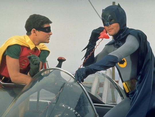 Robin (Burt Ward) and Batman (Adam West) in a scene