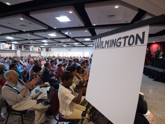Wilmington residents sit in their designated area at the Democratic State Convention at Delaware Technical & Community College, Terry Campus in Dover.