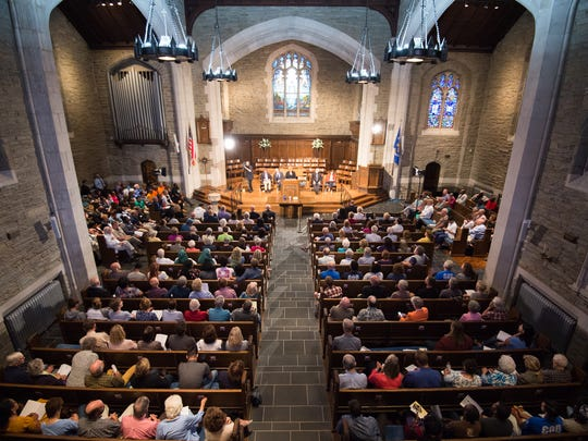 Close to 400 people gathered at Westminster Presbyterian