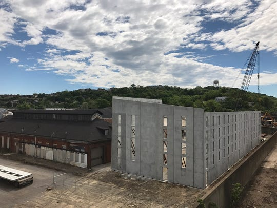 Prefabricated walls for New Riff's new rickhouse have