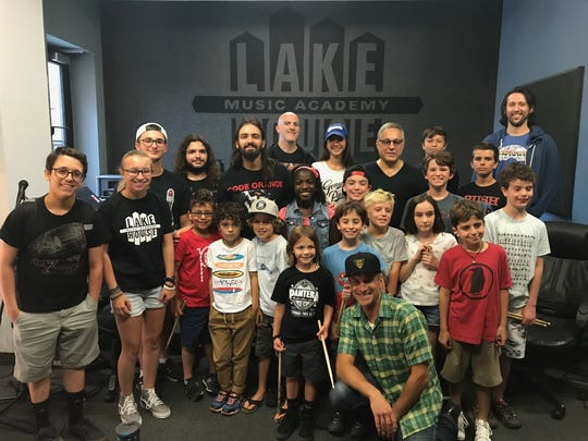 Jay and Max Weinberg and their students at a  drum clinic at the Lakehouse Music Academy in Asbury Park on Friday, July 14.