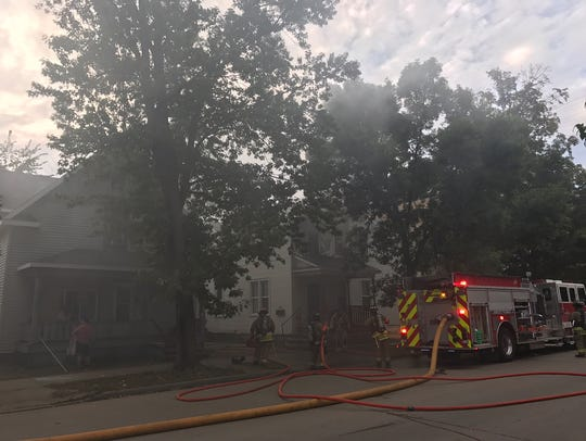 Crews were battling a fire on Jefferson Street in downtown