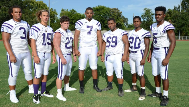 Rayne High defensive standouts Austin Coleman (3), Donald Doucet (15), Nicky Faucheaux (23), Richard Breaux (7), Jaymee Gibson (69), Cameron Gibson (20) and Darien Harmon (5).