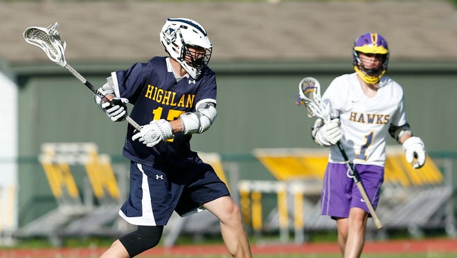 Highland's Jesse Weaver takes a shot during during a May 11 game against Rhinebeck.