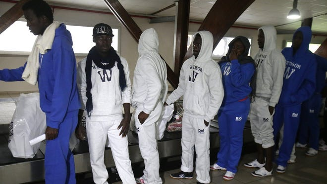 File picture - Ivorian migrants returning from Libya arrive in Abidjan, Ivory Coast, Nov. 22, 2017. 166 Ivorian migrants were repatriated from Libya by the State of Côte d'Ivoire in collaboration with IOM (International Organization for Migration).