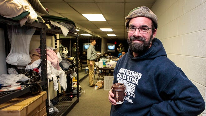 As director of Murfreesboro Cold Patrol, Jason Bennett, 40, manages volunteers with the nonprofit and spends time with people experiencing homelessness in Rutherford County. On March 14, Bennett patrolled the streets of Murfreesboro as temperatures dropped to 28 degrees.