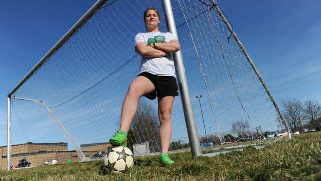 Ryan Wright poses for a portrait before girls soccer practice at Nandua High School on Tuesday, March 8, 2016. Wright, a senior on the Warriors' soccer team, recently signed to play women's soccer at Salisbury University.