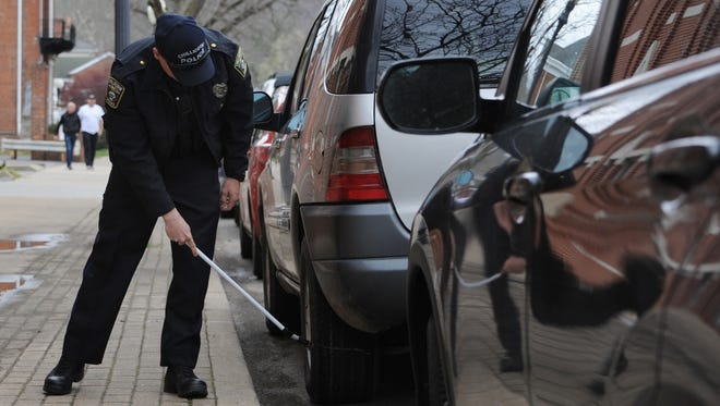 A federal court on Monday ruled that the practice of chalking tires to enforce parking rules in unconstitutional in four states, including Ohio. Parking enforcers in Chillicothe mark tires when meters are not available to determine how long a vehicle has been parked.