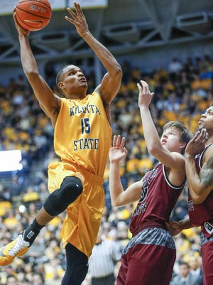 Anton Grady of Wichita State goes up for a shot during the Shockers' 99-68 victory over Missouri State on Thursday in Wichita, Kan.