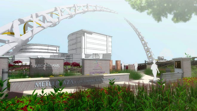 This rendering depicts the future Metli Plaza at the west base of the Arc of Dreams.