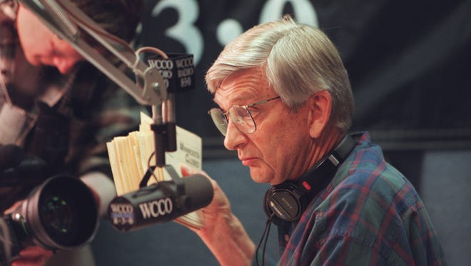 In this 1996 photo, Roger Erickson, of WCCO Radio prepares for a show in Minneapolis. Erickson's daughter, Tracy Anderson, said the longtime radio personality died of natural causes at his home in Plymouth on Monday, Oct. 30. He was 89.