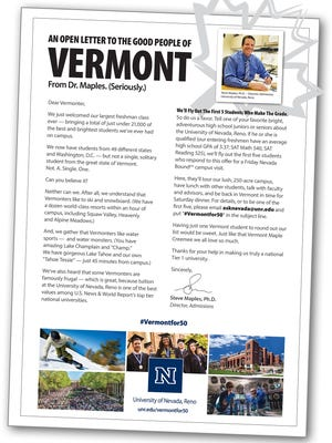 UNR will place a full page ad in the Vermont Burlington Press on Sunday.